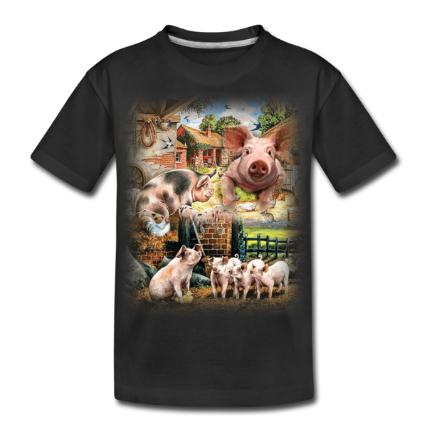 Farm Pigs Kid's Premium Organic T-Shirt - black