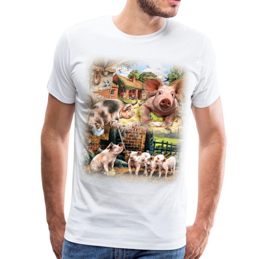Farm Pigs Men's Premium T-Shirt - white