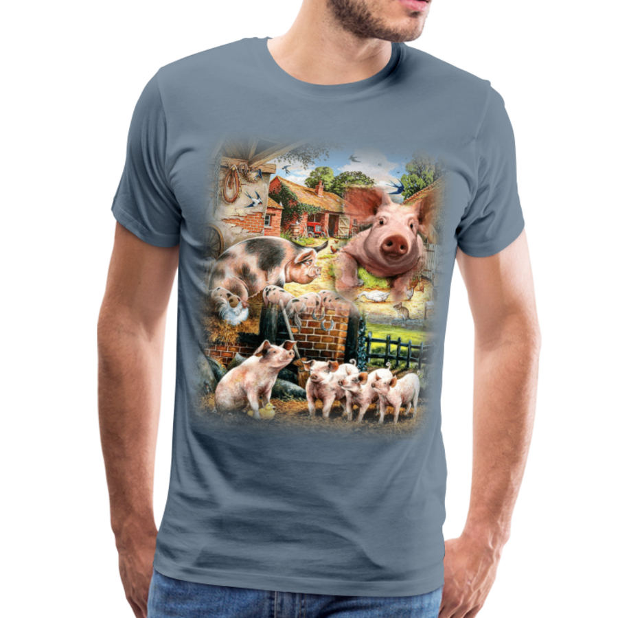 Farm Pigs Men's Premium T-Shirt - steel blue