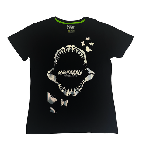 "Holographic ""Shark Bite"" T-shirt in Noir"