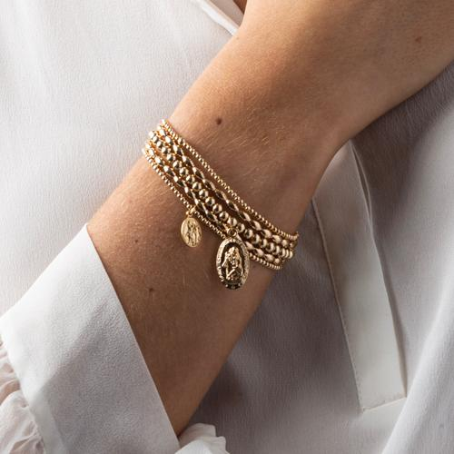 Bracelet | Classic Gold 2mm Bead Bracelet with Protection Small Gold Charm