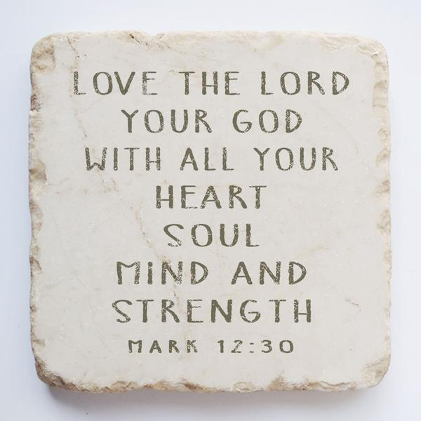 Large Scripture Stone | Mark 12:30