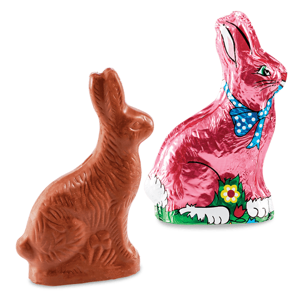Solid milk chocolate foiled bunny.