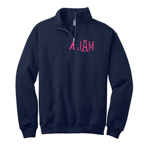 Monogrammed 1/4 Zip Sweatshirt | Navy Blue