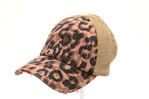 Ponytail Cap | Distressed Leopard Dusty Rose