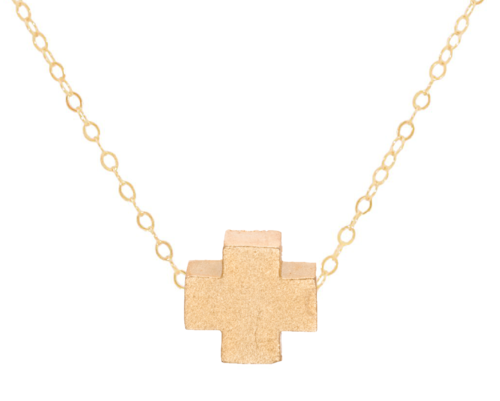 Necklace | Signature Cross Matte Gold