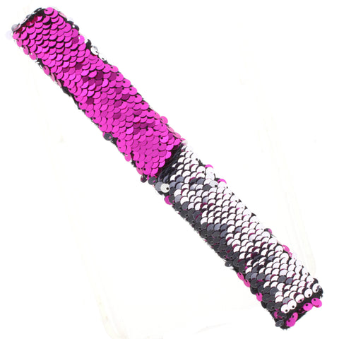 Sequin Slap Bracelet | Hot Pink & Silver