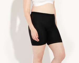 "Katy's hips are 43"", she's wearing size large Thigh Saver. color:Black"