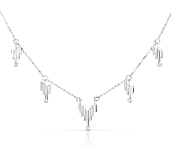 Silver Light Fringe Necklace
