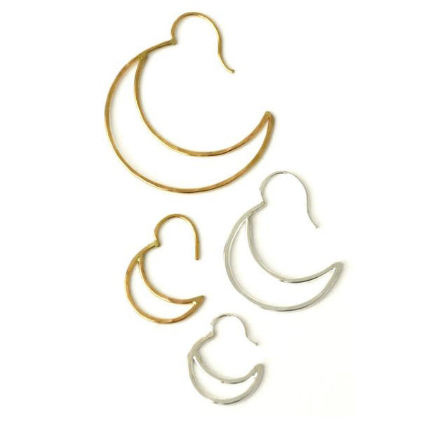 Gold Crescent Hook Hoops