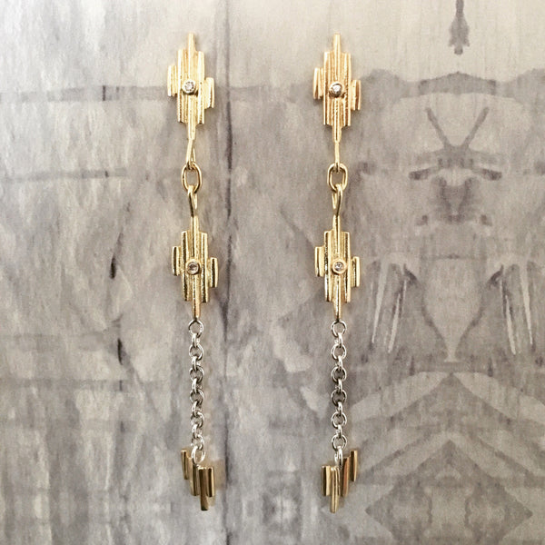 Extra Long Gold Light Earrings