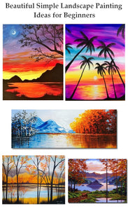 Simple Landscape Painting Ideas for Beginners, Easy Landscape Painting Ideas, Sunrise Paintings, Mountain Landscape Paintings