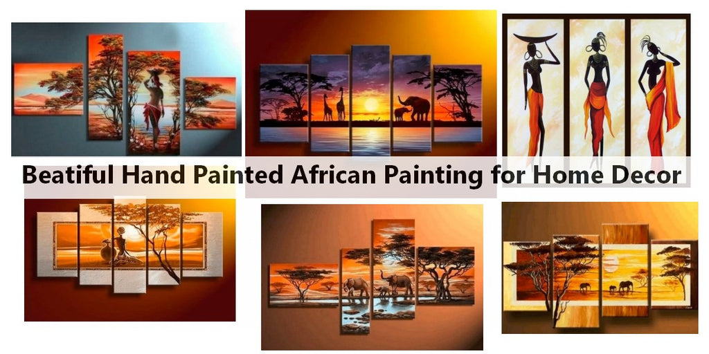 African Paintings, African Woman Painting, African Landacape Painting, Acrylic African Wall Art Paintings