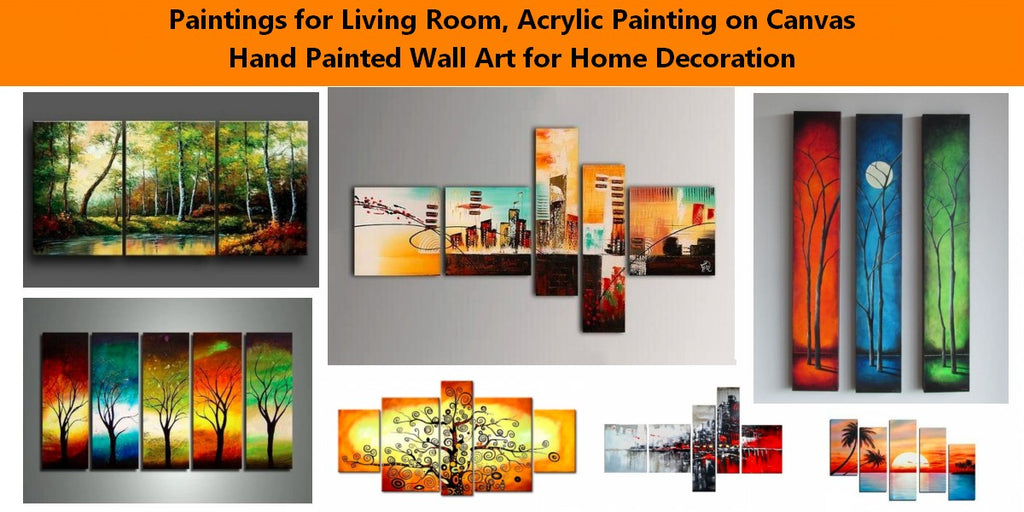 Landscape Paintings, Paintings for Living Room, Acrylic Painting on Canvas, Wall Painting Art