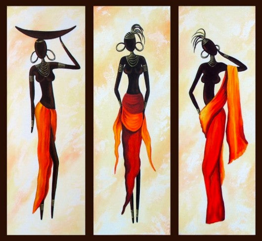 African Woman Painting, African Girl Art, Abstract Figure Art, Dining Room Abstract Painting, Acrylic African Painting