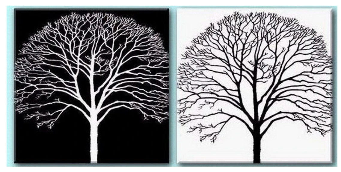 Black and White Tree Painting, Simple Tree Paintings, Easy Tree Painting Ideas for Beginners