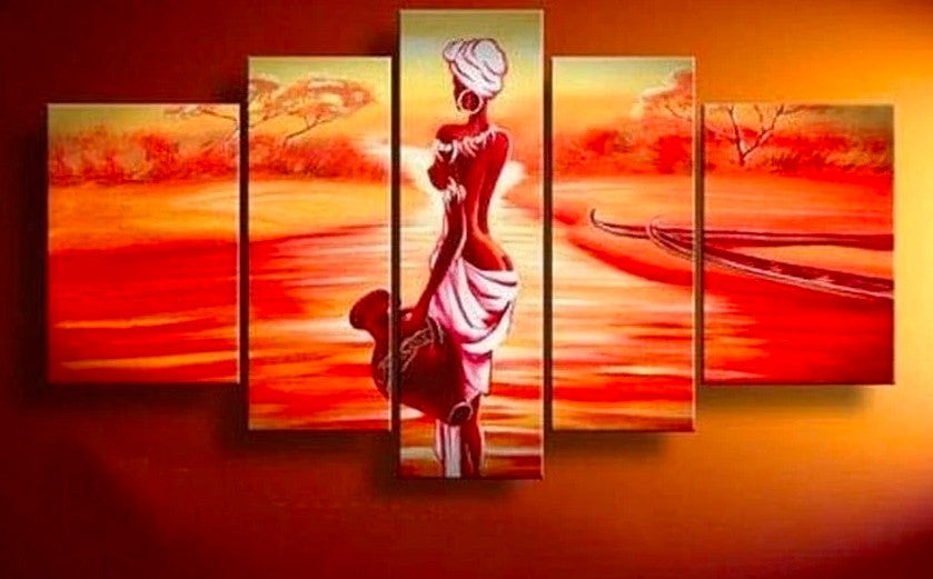 Sunrise Painting, African Woman Painting, Canvas Painting for Bedroom, African Painting, 5 Piece Canvas Art, Acrylic Landscape Painting