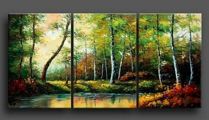 Forest Tree and River, 3 Piece Painting, 3 Piece Wall Art, 3 Piece Canvas Painting, 3 Piece Landscape Painting