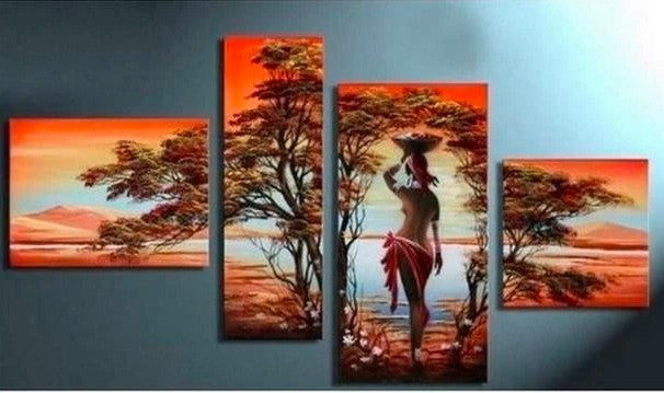 African Art, Large Painting for Living Room, African Woman Painting, Acrylic African Art, Wall Art on Canvas, Bedroom Wall Art Paintings