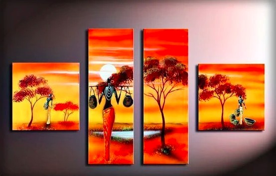 Acrylic African Paintings, African Sunrise Painting, African Woman Painting, Living Room Wall Art Paintings