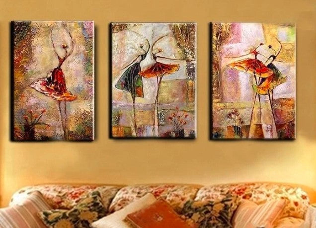 Ballet Dancers Painting, 3 Piece Painting, 3 Piece Wall Art, 3 Piece Canvas Painting