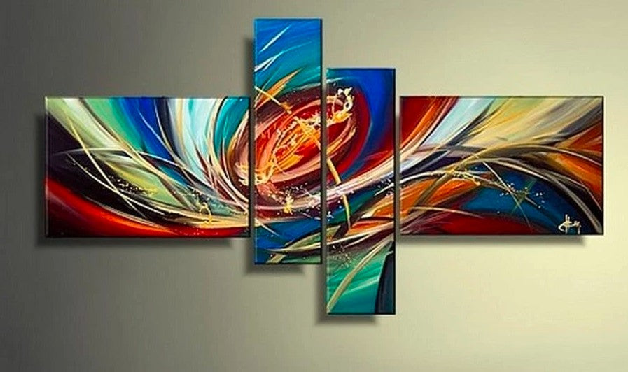 Colorful Lines, Abstract Painting, Wall Art, Acrylic Art, 4 Piece Wall Art, Canvas Painting