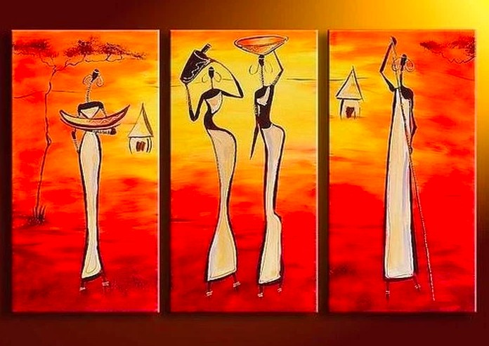 African Woman Painting, African Painting, Extra Large Canvas Painting, Abstract African Art, Modern Artwork for Sale