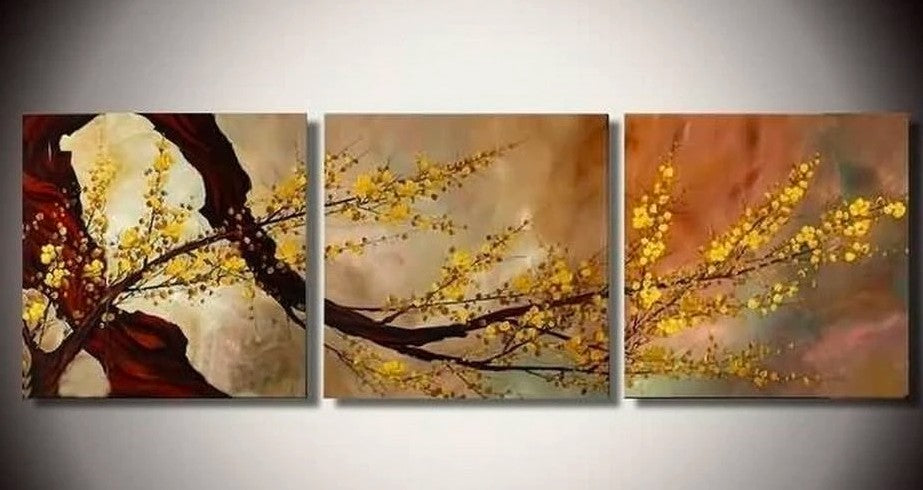 Flower Painting, 3 Piece Painting, 3 Piece Wall Art, 3 Piece Flower Painting, 3 Piece Canvas Painting, Wall Art Painting
