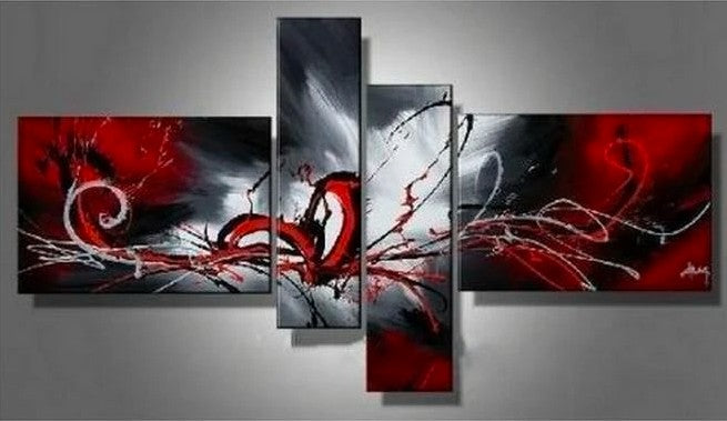 Abstract Painting, 72 Inch Wall Art, Acrylic Art, 4 Panel Wall Art