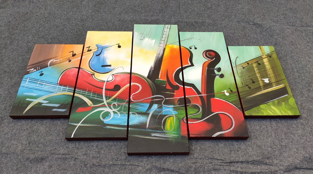 Music Painting, Acrylic Painting on Canvas, Paintings for Living Room, Hand Painted Canvas Painting