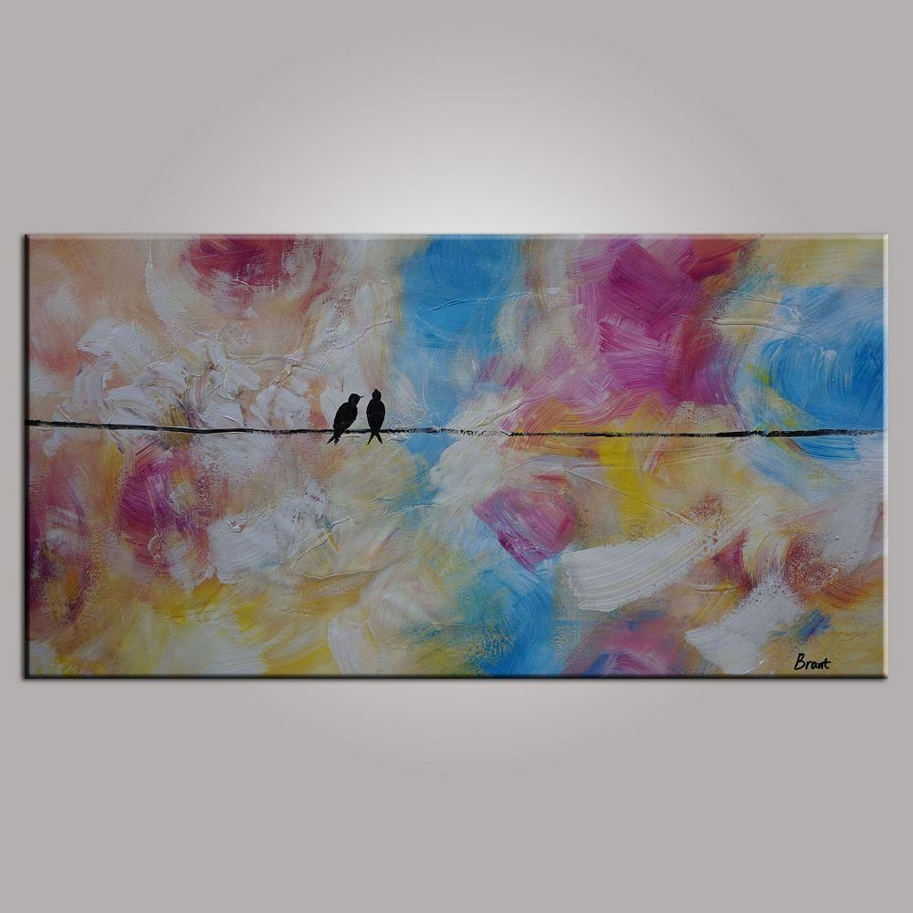Contemporary Wall Art, Modern Art, Love Birds Painting, Art for Sale, Abstract Art Painting, Bedroom Wall Art, Canvas Art - LargePantingArt.com