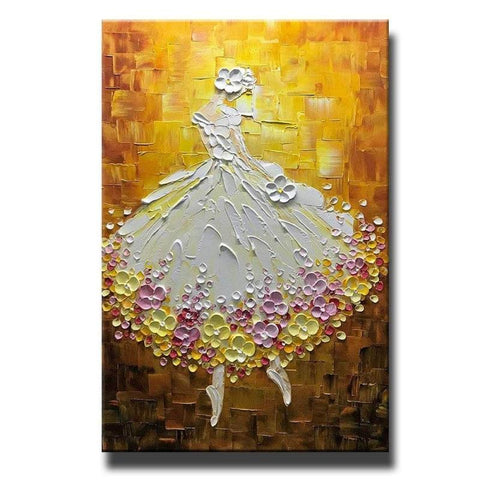 Ballet Dancer Painting, Acrylic Painting Abstract, Modern Paintings, Contemporary Art, Texture Artwork - LargePantingArt.com