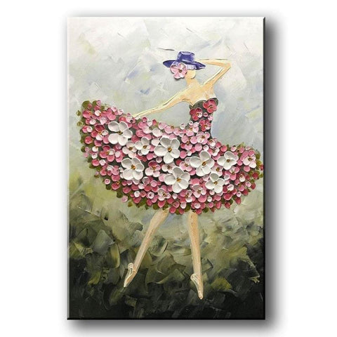 Acrylic Painting Abstract, Pretty Woman Painting, Modern Contemporary Paintings, Palette Knife Painting - LargePantingArt.com
