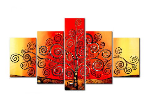 Acrylic Modern Paintings, Tree of Life Painting, 5 Piece Wall Art, Paintings for Living Room, Tree Painting - LargePantingArt.com