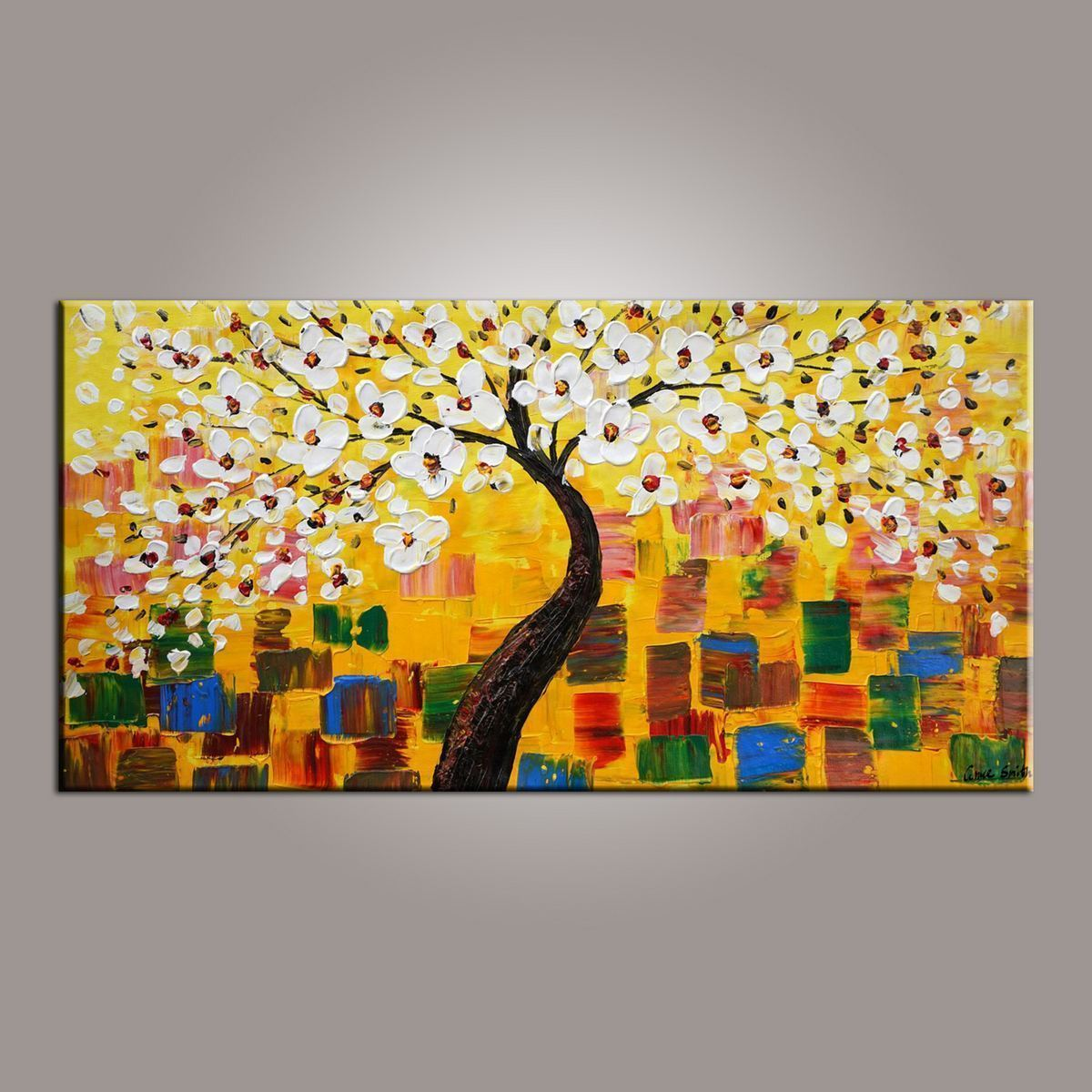 Painting on Sale, Flower Tree Painting, Abstract Art Painting, Canvas Wall Art, Dining Room Wall Art, Canvas Art, Modern Art, Contemporary Art - LargePantingArt.com