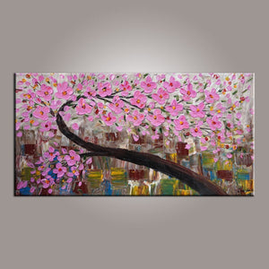 Flower Painting, Tree Painting, Abstract Art Painting, Acrylic Painting on Canvas, Texture Artwork, Modern Art, Hand Painted Art - LargePantingArt.com