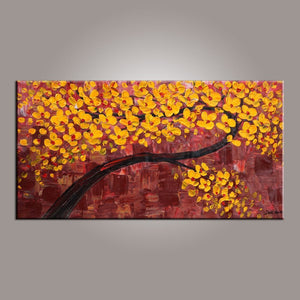 Painting on Sale, Canvas Art, Flower Tree Painting, Abstract Art Painting, Dining Room Wall Art, Art on Canvas, Modern Art, Contemporary Art - LargePantingArt.com