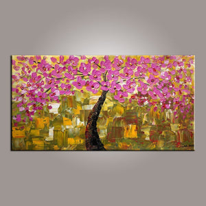 Flower Tree Painting, Acrylic Canvas Art, Painting on Canvas, Tree of Life Painting, Art on Canvas - LargePantingArt.com