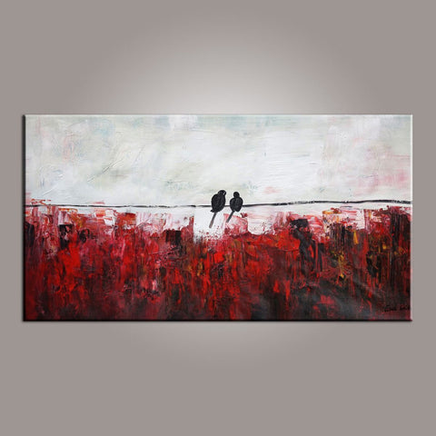 Abstract Art, Love Birds Painting, Painting for Sale, Modern Art, Contemporary Art, Buy Abstract Art - LargePantingArt.com