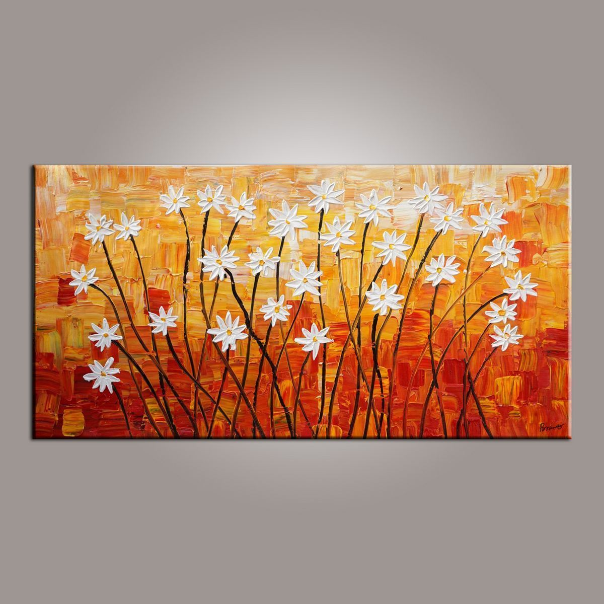 Spring Flower Painting, Painting for Sale, Flower Art, Abstract Art Painting, Canvas Wall Art, Bedroom Wall Art, Canvas Art, Modern Art, Contemporary Art - LargePantingArt.com