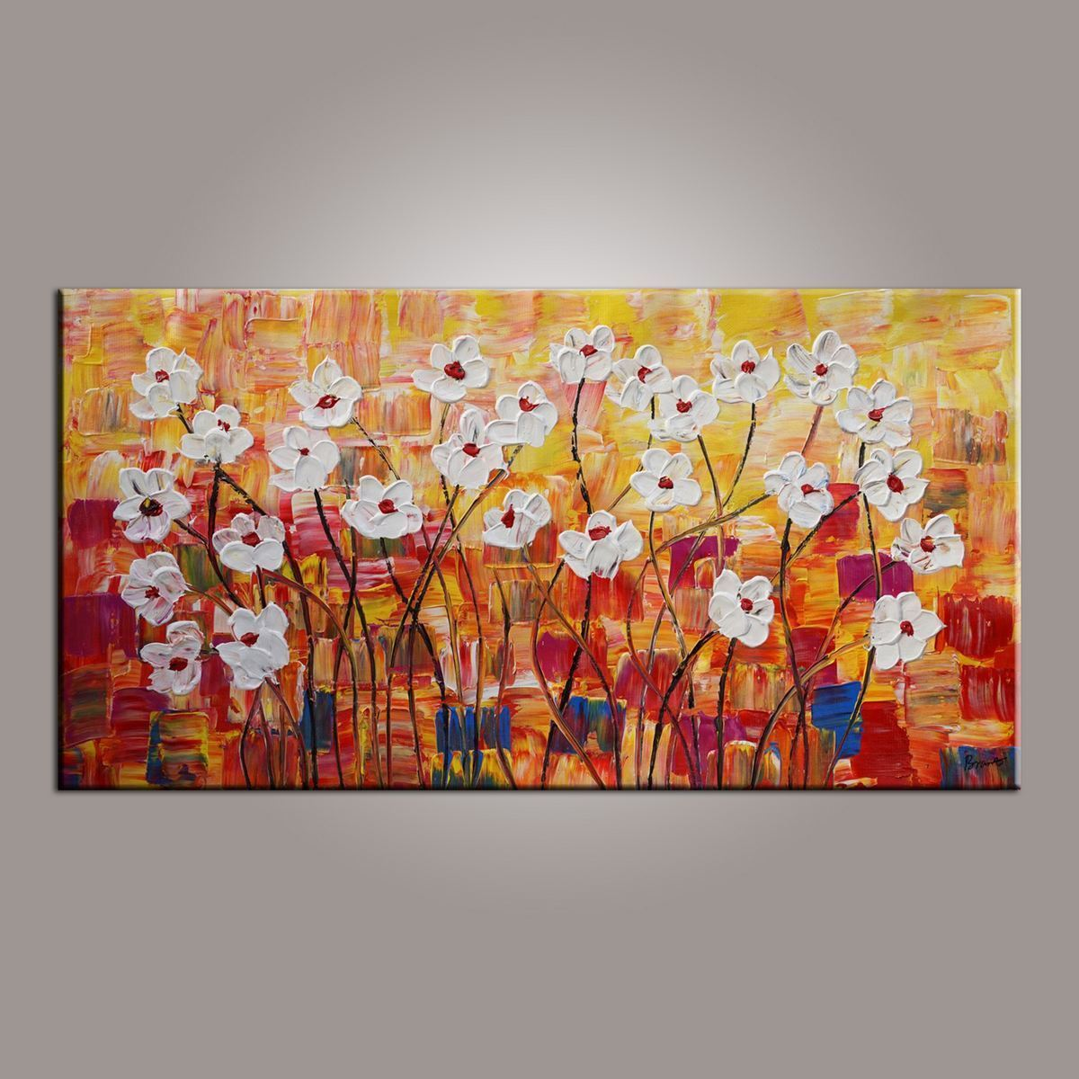Canvas Wall Art, Painting for Sale, Flower Art, Spring Flower Painting, Abstract Art Painting, Bedroom Wall Art, Canvas Art, Modern Art, Contemporary Art - LargePantingArt.com