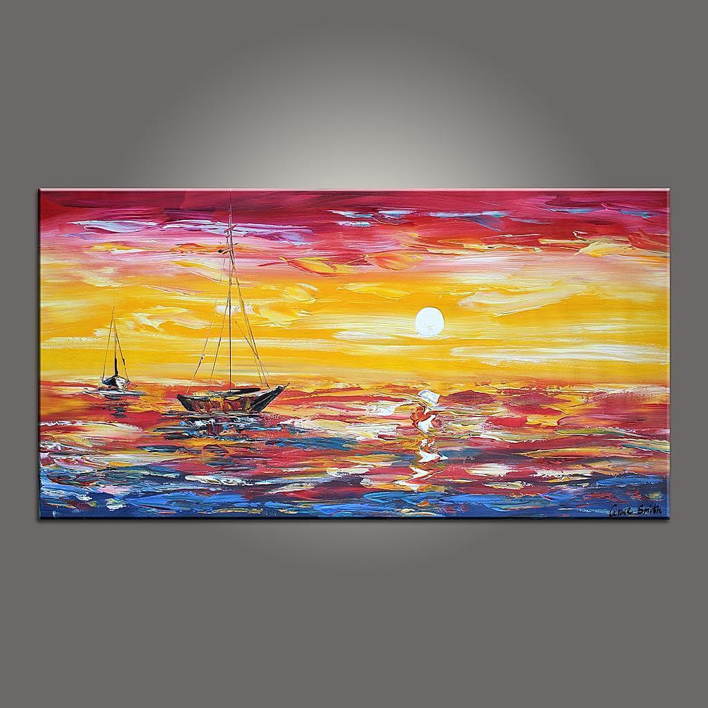 Contemporary Art, Boat Painting, Modern Art, Art Painting, Abstract Art, Abstract Art Painting, Living Room Wall Art, Canvas Art - LargePantingArt.com