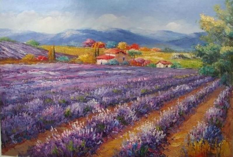 Landscape Painting, Canvas Painting, Lavender Field, Wall Art, Large Painting, Living Room Wall Art, Oil Painting, Canvas Art, Autumn Painting - LargePantingArt.com
