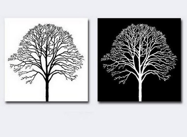 Canvas Painting, Black and White Art, Abstract Painting on Canvas, Wall Hanging, Tree of Life, Simple Painting - LargePantingArt.com