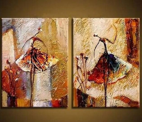 Ballet Dancer Art, Canvas Painting, Bedroom Wall Art, Hand Painted Art - LargePantingArt.com