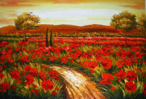 Red Poppy Field, Canvas Art, Large Art, Flower Field, Wall Art, Landscape Painting, Living Room Wall Art, Large Art, Oil Painting, Canvas Wall Art - LargePantingArt.com