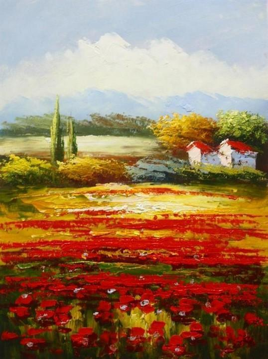 Wall Art, Red Poppy Field, Flower Field, Large Oil Painting, Canvas Painting, Landscape Painting, Living Room Wall Art, Cypress Tree, Oil Painting, Canvas Art - LargePantingArt.com