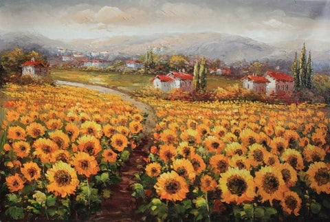 Canvas Painting, Landscape Painting, Sunflower Field, Wall Art, Large Painting, Living Room Wall Art, Oil Painting, Canvas Art, Landscape Art - LargePantingArt.com