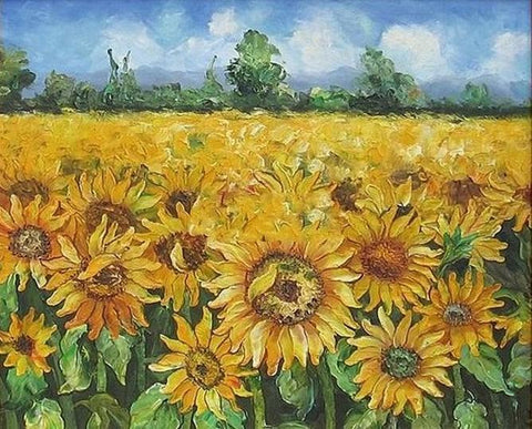 Flower Field, Canvas Painting, Landscape Painting, Wall Art, Large Painting, Living Room Wall Art, Sunflower Painting, Oil Painting, Canvas Art, Autumn Art - LargePantingArt.com
