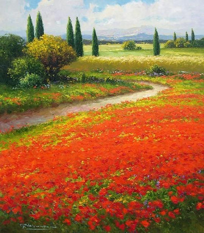 Flower Field, Wall Art, Impasto Art, Heavy Texture Painting, Landscape Painting, Living Room Wall Art, Cypress Tree, Oil Painting, Canvas Art, Red Poppy Field - LargePantingArt.com